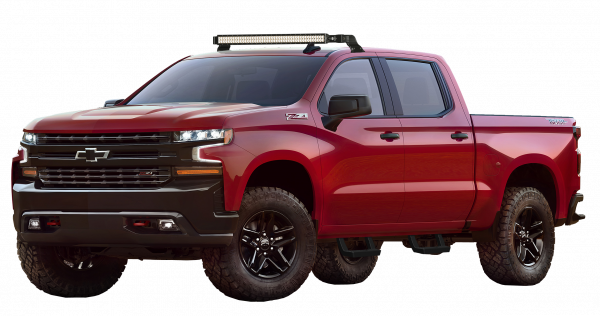 Red 2019 Chevrolet Silverado with steps and lightbar installed