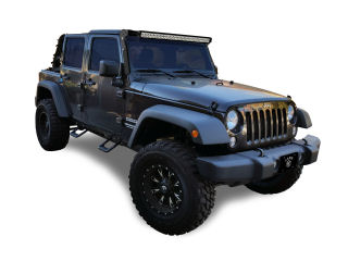 Black Jeep with steps installed