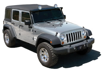 Silver Jeep with light bar