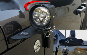 Front view of JL 180 Light Mount installed on jeep